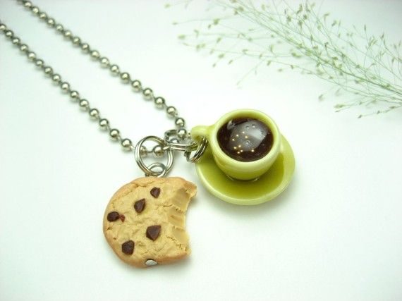 Yellow Coffee Cup and Bitten Cookie Necklace  food от beadpassion