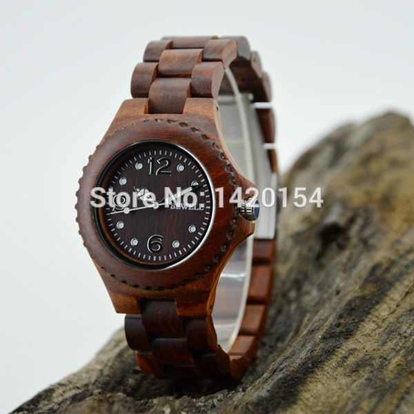 Waterproof Ebony Brand Bewell Wood Watch with Gift Box