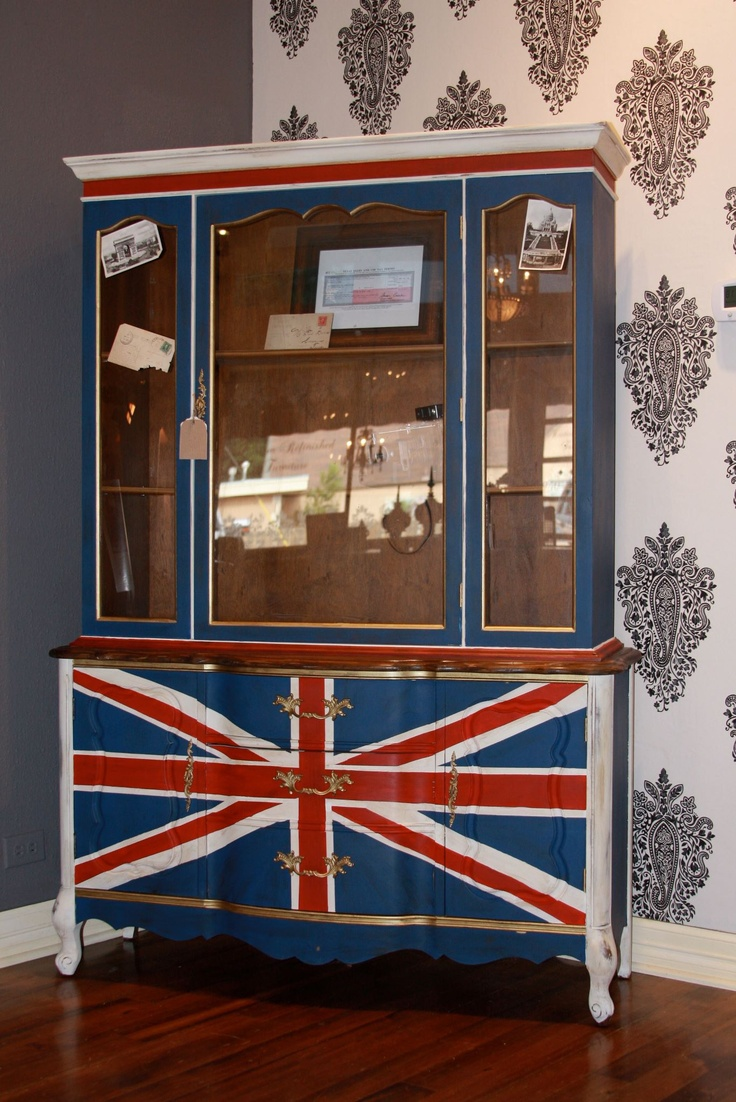 A hutch we refinished with the British Union Jack Flag