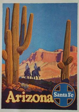 Arizona Santa Fe American Horses Travel Vintage Repro Poster FREE SHIP in USA