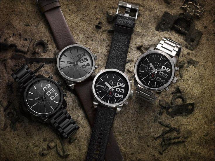 Diesel mens black dial leather analog Chronograph quartz watches DZ4210 #Diesel #Watches #menswear #Analog #Quartz #wristwatch