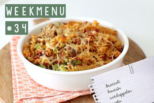 Lekker en Simpel Weekmenu #34 Benodigdheden:  150 gr pasta (bijv. fusili) 500 gr broccoli 150 gr gehakt 1 ei paneermeel 1 tl gehaktkruiden (zelfgemaakt of kant-en-klaar) 1 ui 1 teen knoflook 1 paprika 400 gr tomatenblokjes 1 el basilicum 50 gr geraspte kaas
