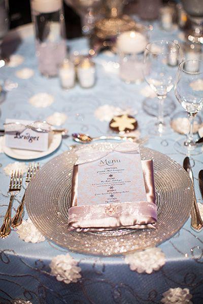 Disney's Frozen inspired winter wonderland wedding reception decor