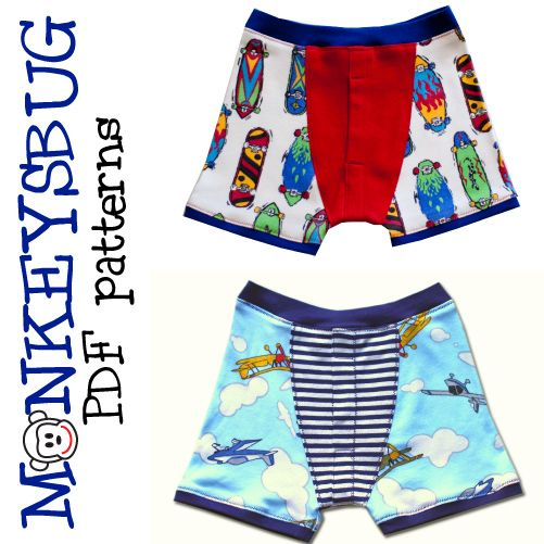 Monkeysbug - Boys Boxer Briefs Underwear - E-PATTERN-sewing pattern,sewing, sewing for boys, boys patterns