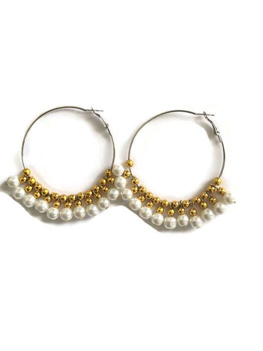 Excited to share the latest addition to my #etsy shop: Boho beaded pearl hoop earrings for women , bohemian jewellery  in white and gold, wedding hoops for bride , bride to be, Christmas gift