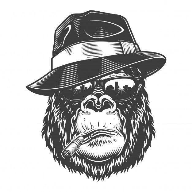 Cabeza De Gorila En Estilo Monocromo Vec Premium Vector Freepik Vector Logo Monkey Tattoos Gorillas Art Gorilla Tattoo