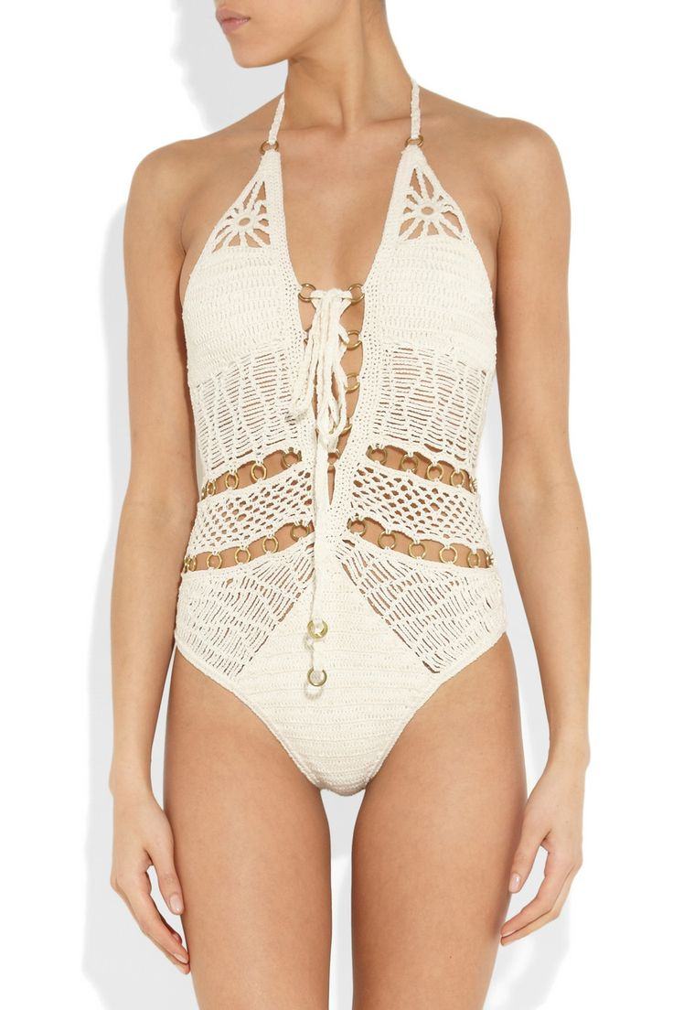 JETS by Jessika Allen White LabelEntice crocheted cotton swimsuitfront