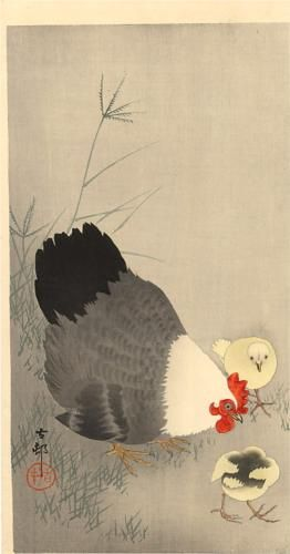 Hen and two chicks in grass - Ohara Koson, c. 1927