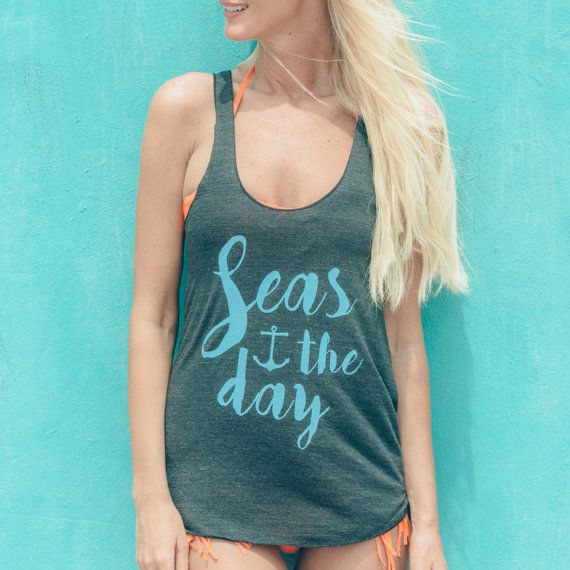 Seas the Day (Charcoal & Periwinkle) - Tank | Inspirational Quote | Beach Shirt | Beachwear | Summer Outfit | Nautical Tee | Seize the Day