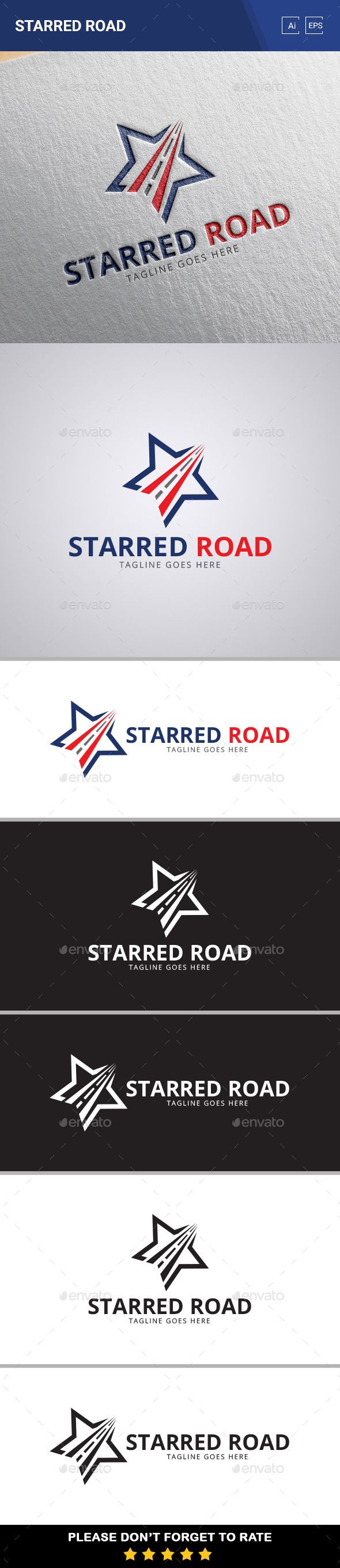 Starred Road Logo Template