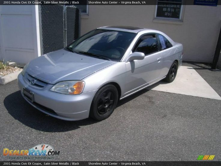 silver 2001 honda civic coupe black rims | 2001 Honda Civic EX Coupe Satin Silver Metallic / Black Photo #2
