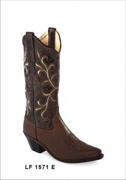 Botas de Senhora Texanas Cowboy Modelo LF1571E Marca Old WestMarca: Old WestRef: LF1571EEstilo: Botas Cowboy em peleCor: Castanho EscuroPerímetro do cano: 34 cmAltura tacão: 3,5 cmAltura cano: 33 cmFabricação: Goodyear WeltedForro: Pele