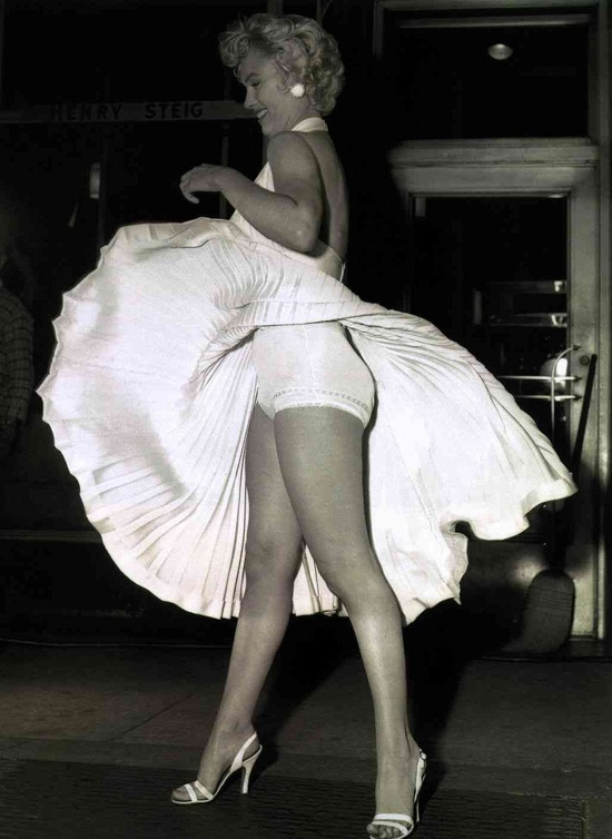 Marilyn Monroe  with the famous white dress, but from a different angle.: