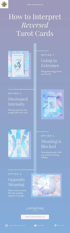 How do you interpret reversed tarot cards? We use these four ways. Infographics about witchcraft, wicca, mysticism, magick, rituals, paganism, zodiac, astrology, and the occult. Images featuring the Luminous Spirit Tarot deck, a holographic, rainbow, minimalist modern tarot deck, for all the mermaids and unicorns in your life.