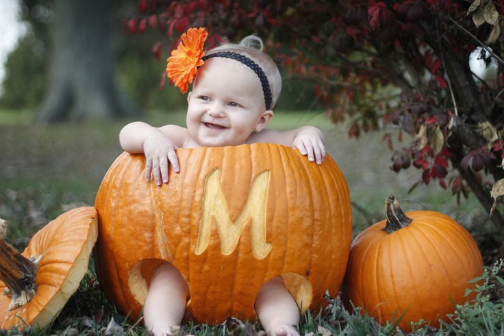 Pumpkin Baby with Monogram Photo