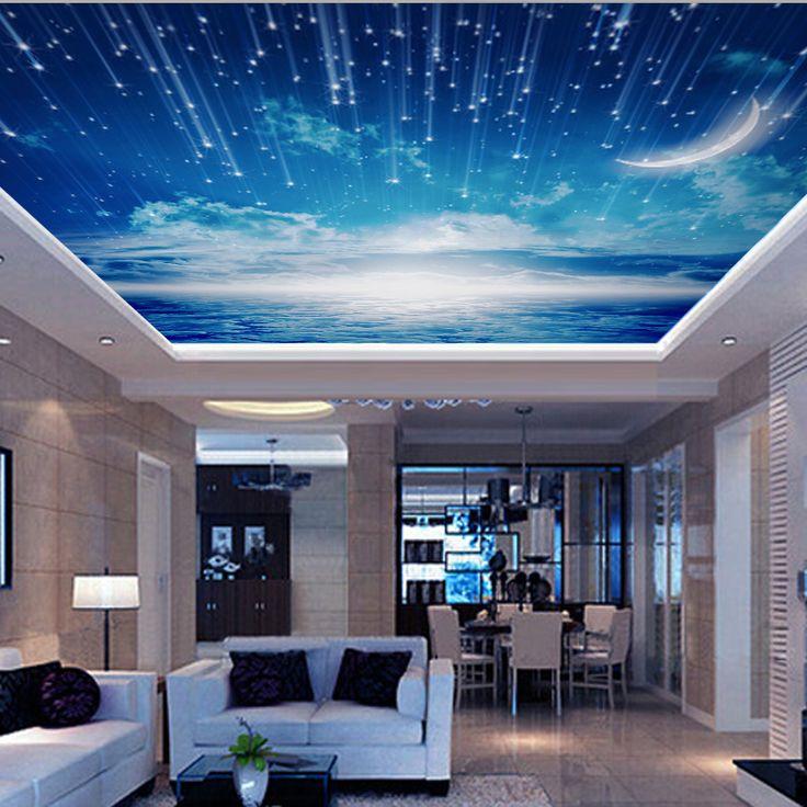 Cheap venta al por mayor cielo azul 3d de pared y techo for Wallpaper sala de estar