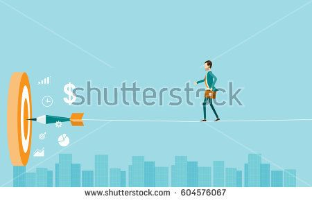 flat business risk and business goal concept with business man balancing on the rope above  the city