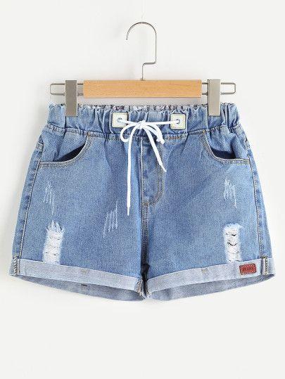Distressed Drawstring Waist Cuffed Denim Shorts