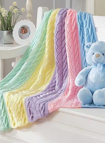 Knitting Pattern for Striped Cables Baby Blanket - #ad Cable and lace rainbow blanket knit in sections and seamed. One of 9 patterns in Dreamy Baby Wraps | See more pics at LeisureArts.com tba