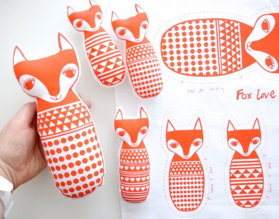 Screen Printed Scandinavian Toy Kit To Make 4 Toy by Janefoster