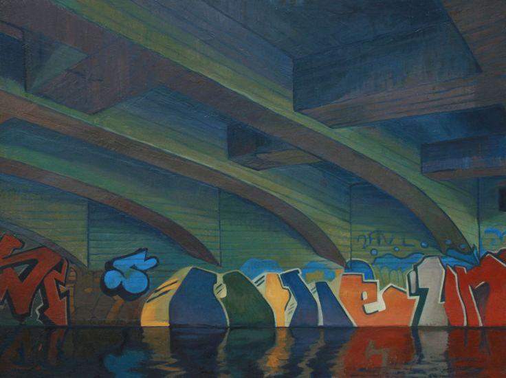 Grafittien under brua. The grafitti under the bridge. Oil on board. www.ithammar.com