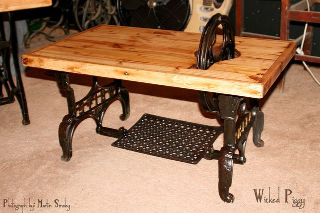 This is a treadle table I made.  An old White sewing machine base and pallet wood.