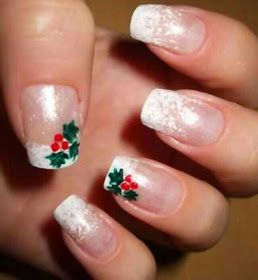 French Tips with Mistletoe (Christmas Nail Art)