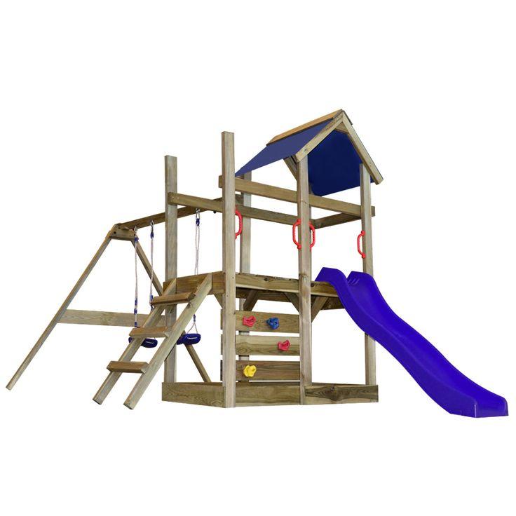 Portique de jeu en bois avec échelle, toboggan et balançoires M
