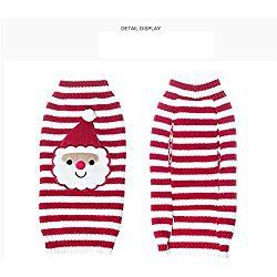 Ollypet Adorable Christmas Red Sweater Santa Claus Knited Clothing for Small Dogs Stripes L