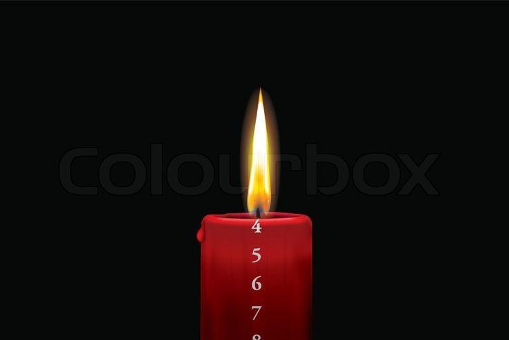 Rødt kalenderlys - 4. december | Vektor | Colourbox on Colourbox