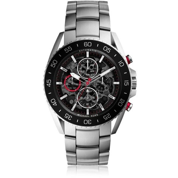 Michael Kors Jetmaster Silver Tone Stainless Steel Men's Chrono Watch (495125 IQD) ❤ liked on Polyvore featuring men's fashion, men's jewelry, men's watches, michael kors mens watches, mens stainless steel watches, mens watches, men's blue dial watches and mens watches jewelry