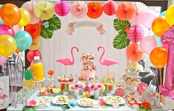 Dessert Table Details from a Spring Flamingo Birthday Party via Kara's Party Ideas - KarasPartyIdeas.com (4)