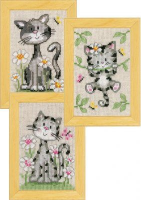 Cats and fLowers Miniatures (Set of 3) (counted cross stitch kit)