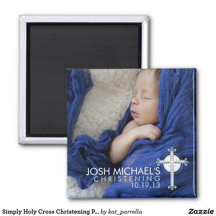 Simply Holy Cross Christening Photo Keepsake Magnet
