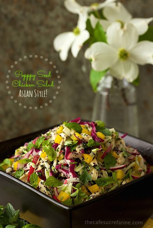 Poppy Seed Chicken Salad, Asian Style! Fresh, healthy and super delicious - once you try it, you'll be craving it again & again!