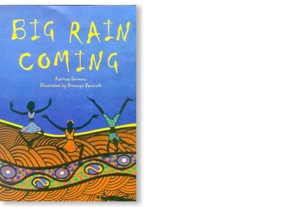 'Big Rain Coming' by Bronwyn Bancroft, published by Penguin Books Australia, 2002. Signed picture book available at Books Illustrated. http://www.booksillustrated.com.au/bi_books_indiv.php?id=38&image_id=36