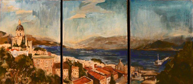 триптих, пейзаж, три холста по 30х20 каждый, холст, масло triptych, landscape, three canvases for 30х20 each, canvas, oil