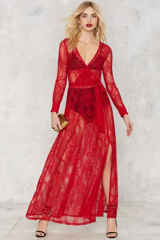 Nasty Gal One and Only Lace Maxi Dress - Red - Valentine's Day