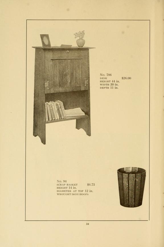 Catalogue of craftsman furniture made by Gustav Stickley: Waste basket and desk. 1909