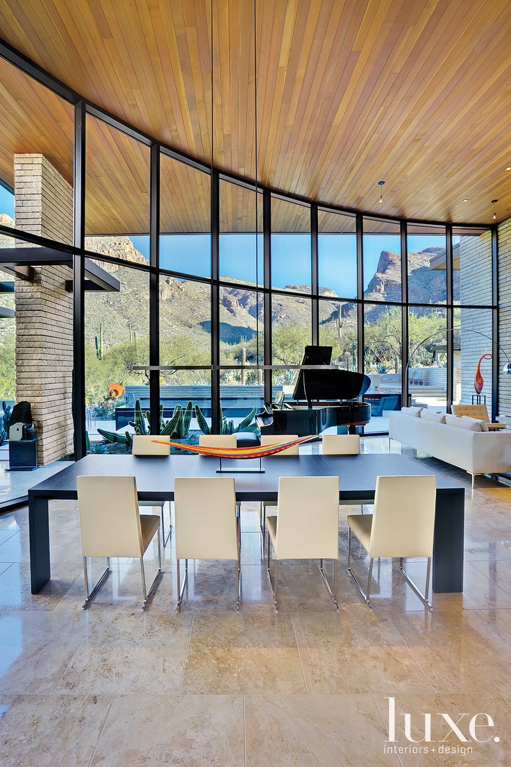 It is all about balance when architect Kevin B. Howard teams up with interior designers John Senhauster, FAIA and Jane Keller to make this beautiful Tucson home. Seen in our Arizona Spring 2012 issue.: Dining Rooms, Dining Area, Window, Open Spaces, Dining Chairs, Interiors Design, Home Decor, Modern Home, Architecture Design