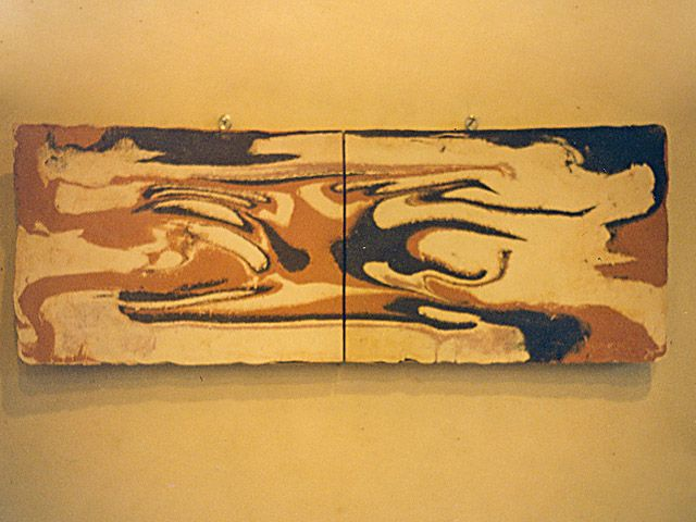 Wall plaque made with 4 different clays. 110cm length, 53cm hight.