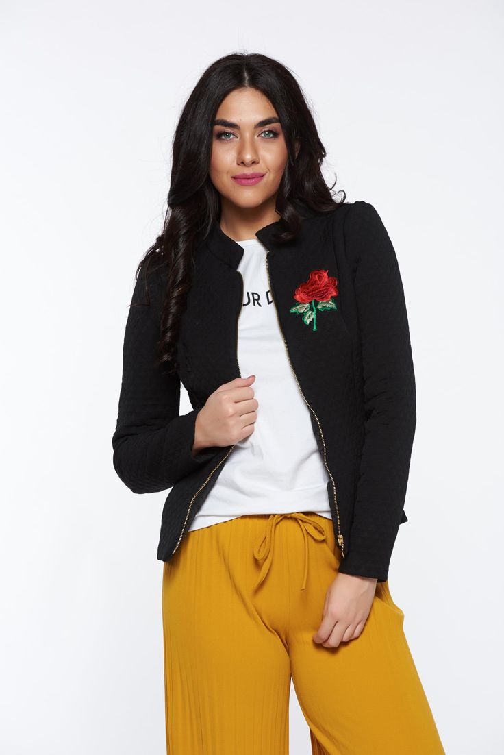 Artista inside lining black jacket with embroidery details, women`s jacket, inside lining, seams inside the fabric, embroidery details, slightly elastic fabric, zipper fa