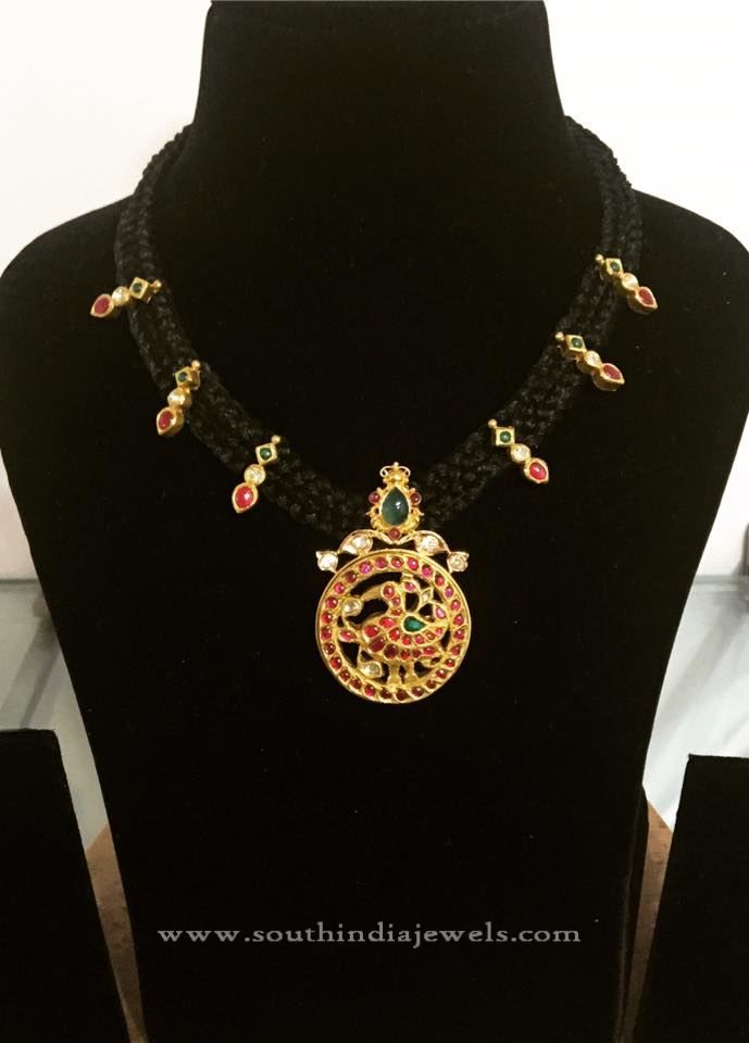 Black Thread Dori Necklace Designs, Dori Ruby Necklace Designs, Gold Dori…