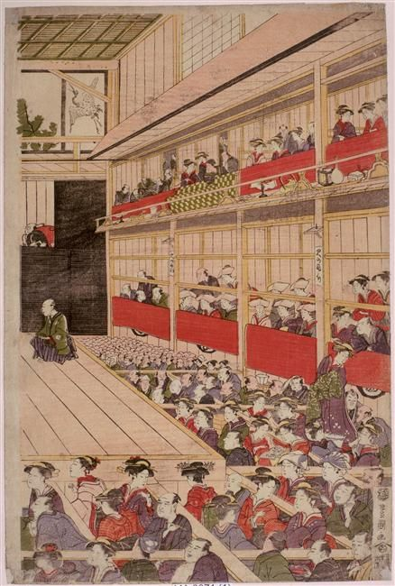 Utagawa Toyokuni I. 1789-1801 Kabuki theater Nakamura-za in Uki-e (viewed in perspective).
