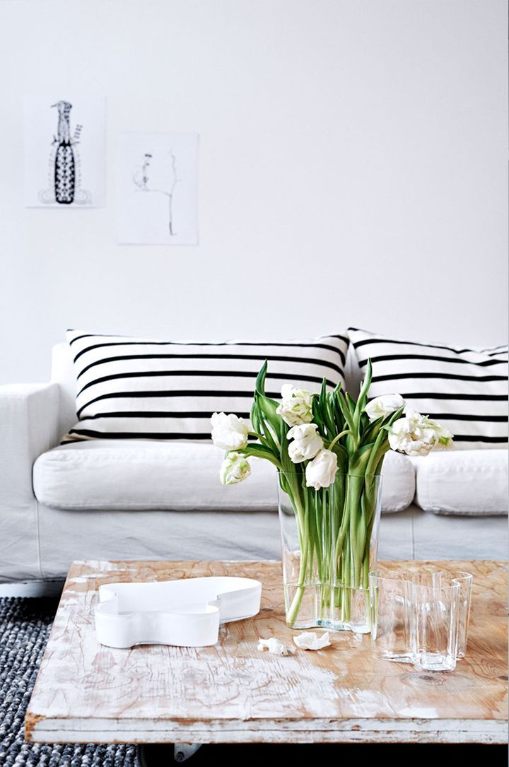 Black + White Horizontal Stripe Cushions //