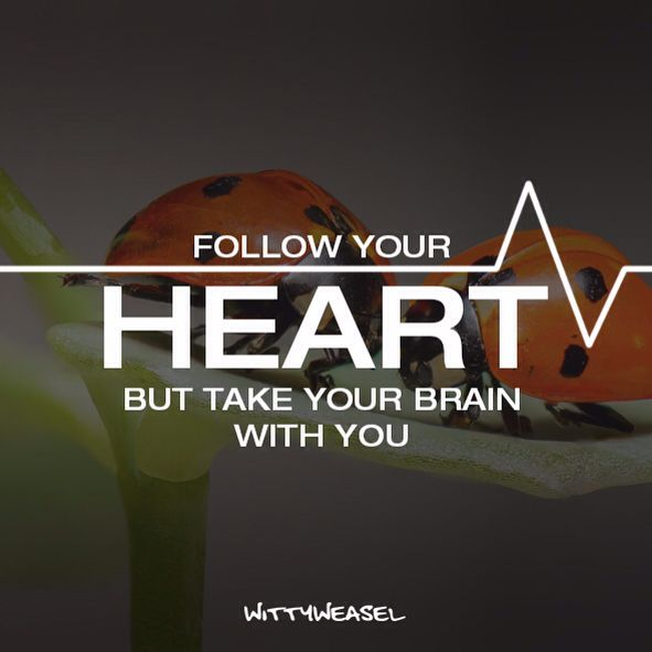Follow your heart but take your brain with you!