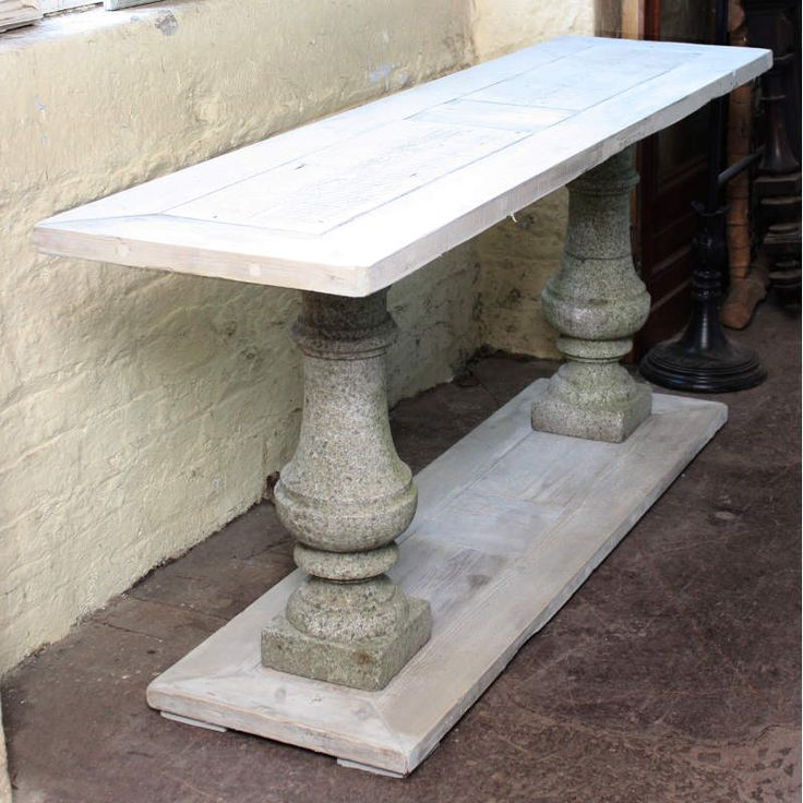 Foyer Table With Granite Top : Console table with a pair of carved granite balusters