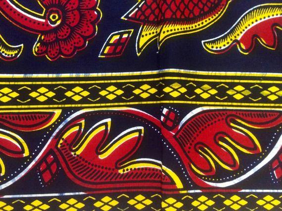 Avant première de CéWax : mise en vente courant Novembre/Décembre :  Foulard noir jaune et rouge tissu wax africain