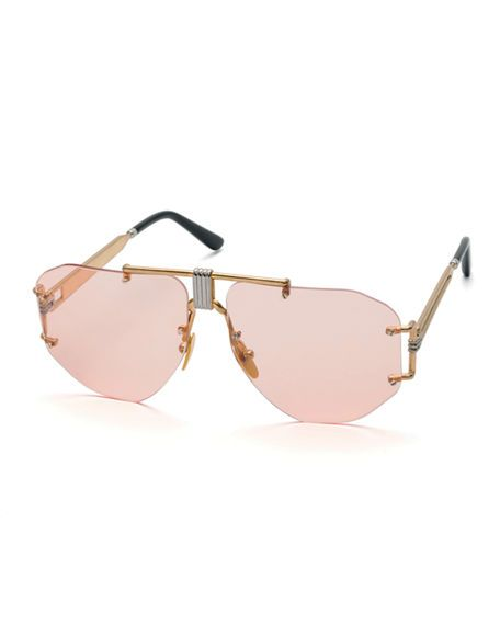 5cf597f464 Celine Rimless Aviator Sunglasses In Transparent Pink
