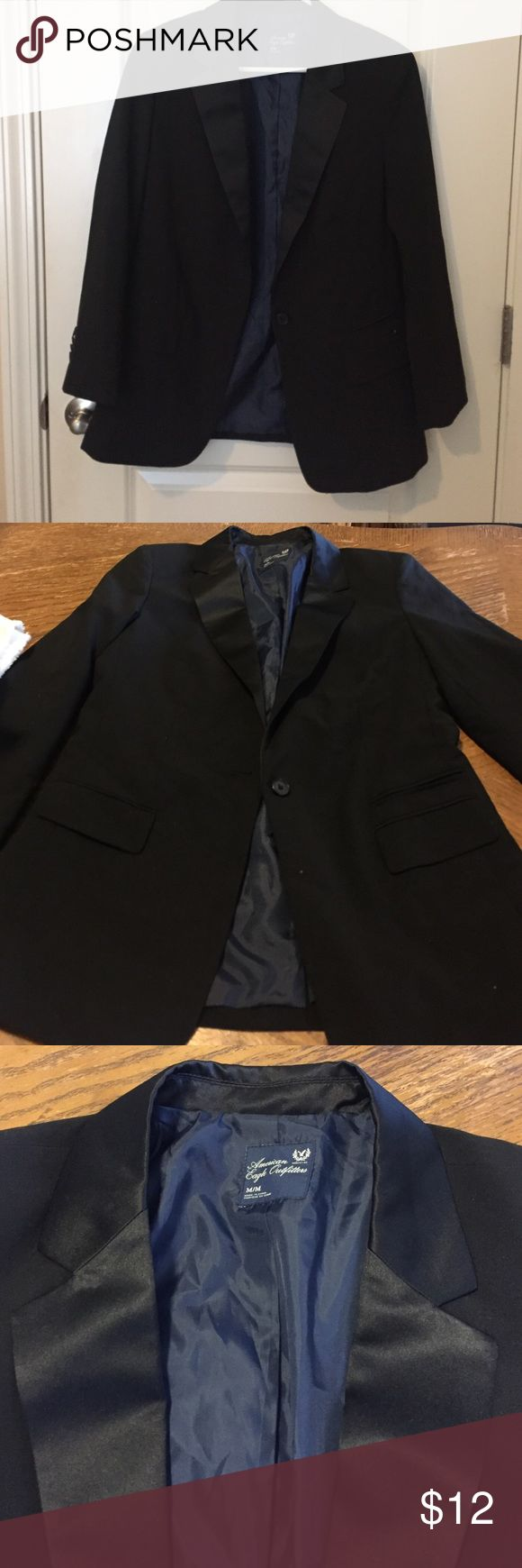 American Eagle Outfitters black blazer size M American Eagle Outfitters women's 3/4 sleeve blazer. Color: black with satin collar. Size: M. One loose button but that can be fixed. Other than that in great condition!! Only used 2-3 times. American Eagle Outfitters Jackets & Coats Blazers